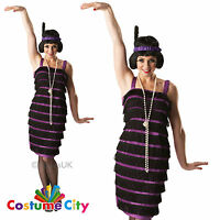 Adult Womens 1920's Purple Fringed Flapper Girl Fancy Dress Costume