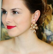 KATE SPADE NY CRYSTAL CLEAR GOLD PETALS BRIDAL CHANDELIER DROP EARRINGS RARE