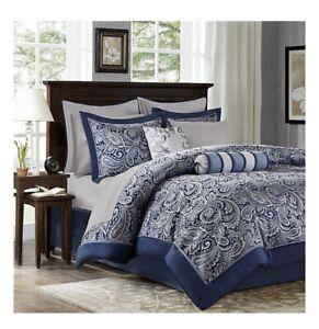 Madison Park Aubrey Queen Size Bed Comforter Set Bed In A Bag Navy Grey Open Box