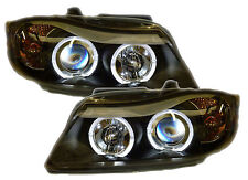 BMW 3 Series E90 E91 05-08 Black LED Angel Eye Projector Headlights Halo Rings