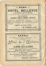 Stampa antica pubblicità HOTEL ALBERGHI di Roma e Napoli 1899 Old antique print