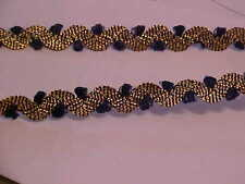 5 YDS ANTIQUE GOLD BRAID WAVE RICK RACK WITH BLUE PICOT RIBBON
