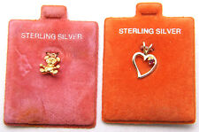 Charm Lot of 2 Teddy Bear & Heart w/ Red Stone Gold Plated 925 Sterling Silver