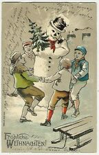 Snowman, Christmas, Four Children Dancing Around a Snowman, old embossed pc.
