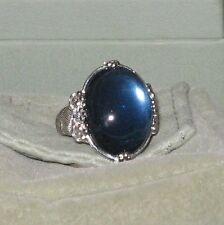 Judith Ripka Sterling Cabochon Hematite &  Synthetic Blue Quartz Doublet Ring