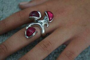 NEW Uno De 50 Fuchsia Murano Glass IBISCUS Silver Statement Ring 6 S 8 L 8.5 XL