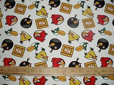 Cotton Fabric Angry Birds by Rovio TNT Dynomite on white game  BTY