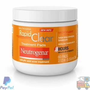 Neutrogena Rapid Clear Acne Face Pads w/ Salicylic Acid, Maximum Strength, 60ct