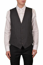 "Dolce & Gabbana ""Staff"" Men's Gray Wool Striped Four Button Vest US 42 IT 52"
