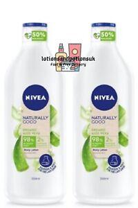 Nivea Naturally Good ORGANIC ALOE VERA Body Lotion Normal Skin 350ml - 2 Pack