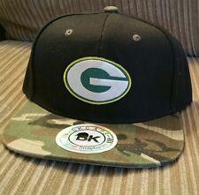 Green Bay Packers NFL Team Black Baseball Cap & Camouflage Bill Snapback Hat