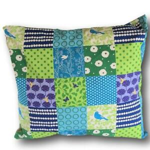 PATCHWORK BIRDS IN BLUES CUSHION COVER IN FABRIC BY ECHINO OF JAPAN