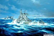 Naval Art Post card american Cuirassé USS New Jersey Randall Wilson