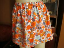 "20"" 20W Vtg 70s HANDMADE COTTON ORANGE FLORAL PRINT COTTON Mini Mod Skirt"