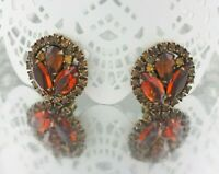 Vintage Signed Weiss Antiqued Gold Citrine, Orange & Topaz Rhinestone Earrings