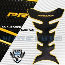3D FUEL/GAS TANK PAD PROTECTOR DECAL PRO GRIP PERFORATED GLOSS BLACK+CHROME GOLD