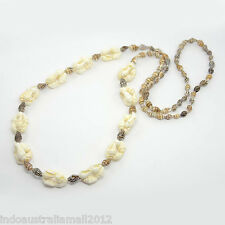 Natural Conch Sea Shell Brown & White Beads Long Necklace (NJEW-O014-03B)