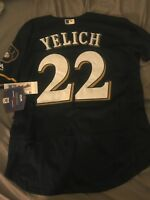Christian Yelich Milwaukee Brewers Blue Majestic Flex Base Jersey $300 Mens M-2X