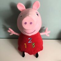 """Talking Peppa Pig 123 Soft Toy Plush Large 15"""" Tall Squeeze My Tummy Red Dress"""