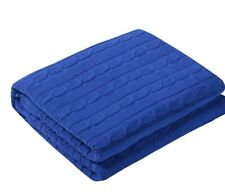 """100% Cotton Cable Knit Throw Blanket 47"""" X 70"""" Blue"""
