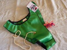 GREEN shiny SATIN panties FRILLY fluted knickers 6 sizes new  Made in France