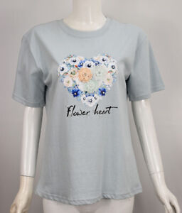 Womens Girls Blue Flower Heart Pearls Embroidered T Shirt Pullover Logo Top