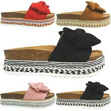 Womens Ladies Mid Wedge Flatform Espadrilles Mules Sandals Shoe Size Bow slipper