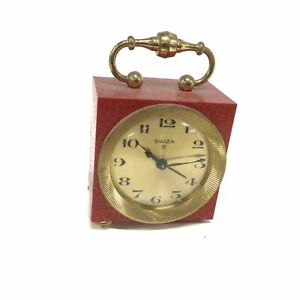 Swiza 8 Small Red & Gold Desk Clock with Carry Handle #209