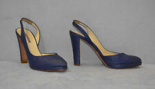 B2 Auth JIL SANDER Navy Blue Canvas High Heels Slingbacks Shoes Size It 37.5