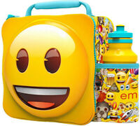 3D Emoji Lunch Bag with Bottle Kids School Lunchbox Food Drink Storage