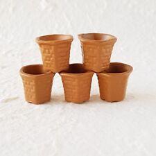 5x Terracotta Brown Hexagonal Pot Dollhouse Miniatures Fairy Garden Supply Decor