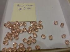lot de 50  perles anciennes à facettes  en cristal rose translucide
