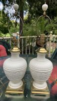 Lenox Athenian Collection Matching Table Lamps, Brass And Ivory China,Pre Owned.