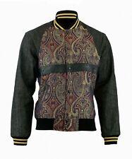 Homme Mode Bomber Paisley Veste Denim Jean manteau Blouson Pour Femme Noir FR