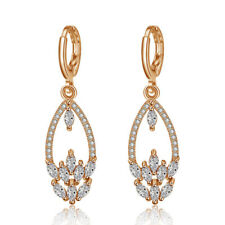 European Style Natural Shiny White Fire Topaz Yellow Gold Plated Dangle Earrings
