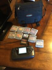 SEGA GAME GEAR HANDHELD CONSOLE & VIDEO GAME LOT W/ CARRYING CASE PAC Man SONIC