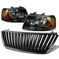 BLACK HOUSING HEADLIGHT+AMBER CORNER LAMPS+GRILL GUARD FOR 03-06 FORD EXPEDITION