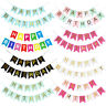 Happy Birthday Banner Cake Topper Foil Balloons Decorations Silver Rose Gold