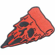 Red Pizza Slice Badge Ghost Halloween Mask Face Eyes Food Iron-On Patches #0779