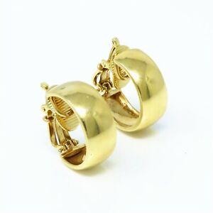NYJEWEL Tiffany & Co 14k Yellow Gold Hoop Clip On Earrings