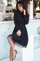Black lace hem skater midi dress size MEDIUM, UK 10