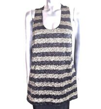 M&S Limited Edition Long Top Top Evening Black & Gold Striped Sequinned ~ UK 14