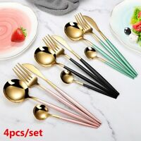Dinnerware Knife Fork Spoon Dinner Stainless Steel 4Pcs/set Black Gold Cutlery