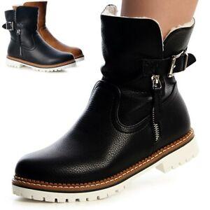 Damenschuhe Winter Stiefel Boots Futter Worker Style