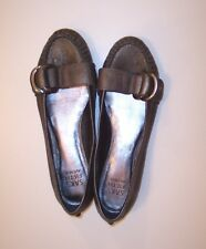 SAKS FIFTH AVENUE RUSTY2 METALLIC Gold Black LEATHER BALLET FLATS SHOES Size 8