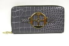 IMAN Classic Croco-Embossed Zip Around Luxury Wallet CHARCOAL GRAY  New Tags