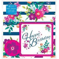 2 Feuilles de Floral & Rayures Anniversaire Papier Cadeau Carte 2 Étiquettes Set
