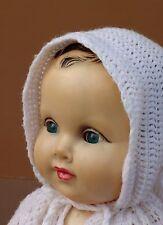 Ancien poupon yeux riboulant cheveux moulés brun yeux bleus jouet jeu 59 cm #1