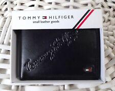 Billetera De Cuero Para Hombres 'Tommy Hilfiger' Plegable, negros, Bolsa De Moneda, suave y delgado, Venta