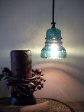 Stunning Glass Insulator Pendant Light~Authentic Telegraph Glass Light Fixture
